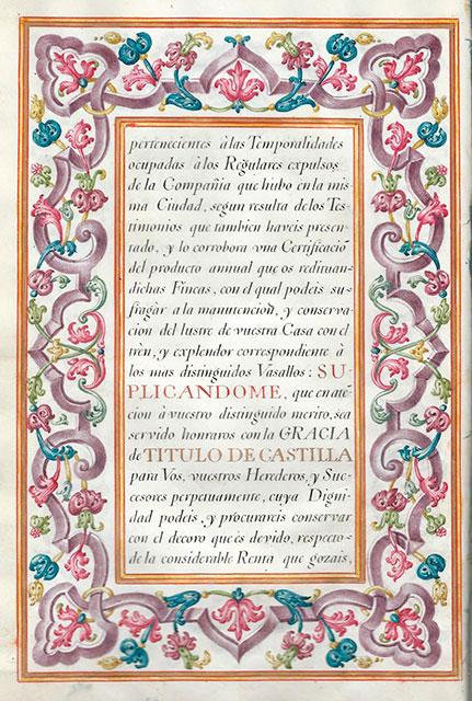 Carta de concesión del título de conde de las Cinco Torres: Título otorgado por el rey Carlos III en 1773 a don Sebastián Sánchez Franco.