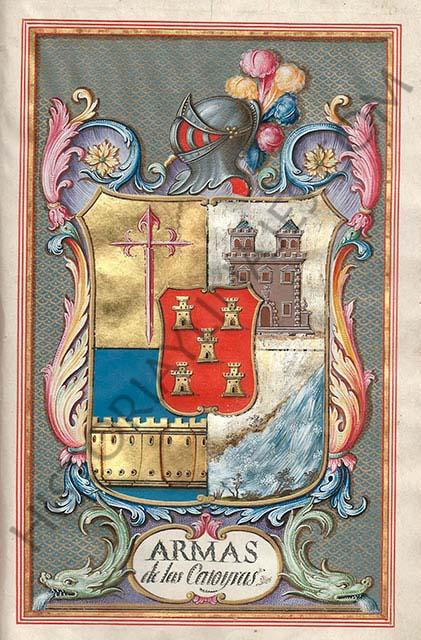 Escudo de armas de los Catoyra. Incluido en la Ejecutoria de Nobleza de María Luisa Catoyra, esposa de José Bonifacio Feduchi, III conde de las Cinco Torres.